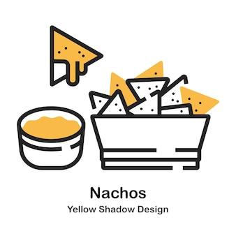 Nachos lineal color illustration