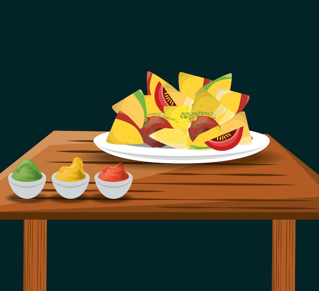 Nachos mexican food with sauces menu restaurant