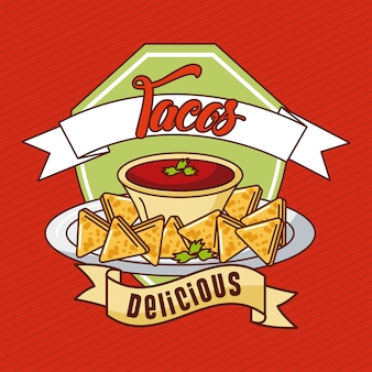 Nachos tacos delicious mexican food card restaurant menu banner