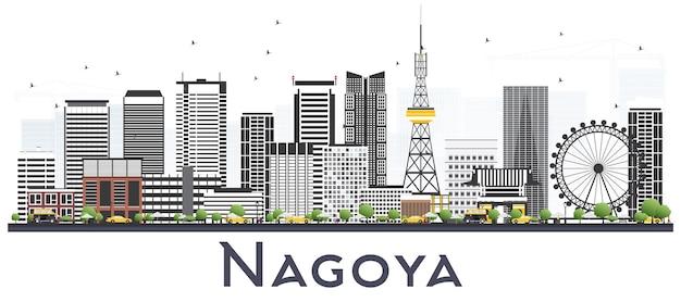 白で隔離の灰色の建物と名古屋日本都市のスカイライン。ベクトルイラスト。近代的な建物とビジネスと観光の概念。ランドマークのある名古屋の街並み。