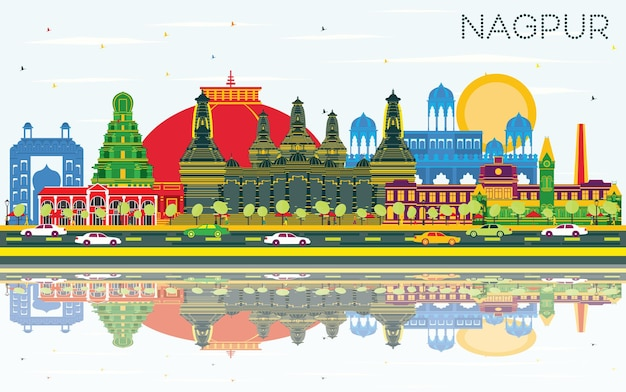 Nagpur india city skyline with color buildings, blue sky and reflections. vector illustration. business travel and tourism concept with historic architecture. nagpur cityscape with landmarks.