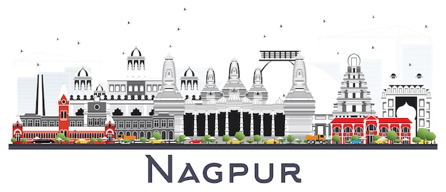 Nagpur india city skyline with gray buildings isolated on white. vector illustration. business travel and tourism concept with historic architecture. nagpur cityscape with landmarks.