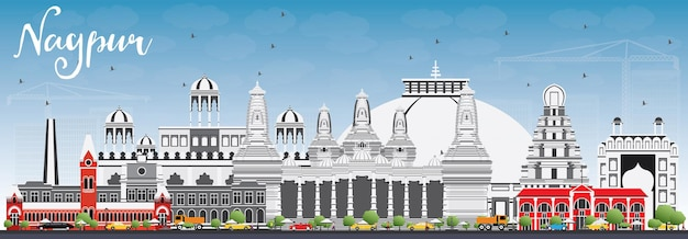Nagpur skyline with gray buildings and blue sky. vector illustration. business travel and tourism concept with historic architecture. image for presentation banner placard and web site.