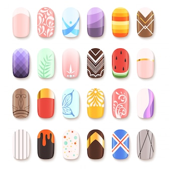 Nail art design. false fingernails manicure