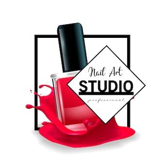Шаблон дизайна логотипа студии nail art.