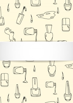 Nail background with doodle manicure. hand drawn polish and