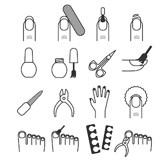 Nail care, manicure and cutter, spa vector icons