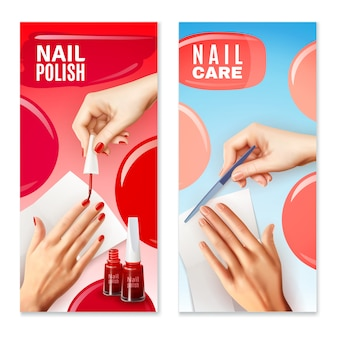 Nail care polish banners set