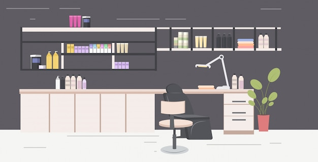 Nail care workplace for master of manicure or pedicure beauty salon interior horizontal