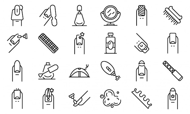 Nail icons set, outline style