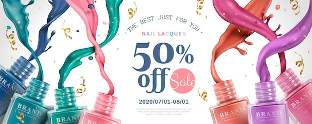 Nail lacquer sale ads with colorful splashing liquid from bottles in 3d illustration, streamers falling down from sky on white background