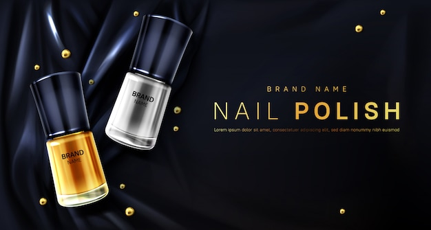 Nail polish 3d bottles gold and silver palette