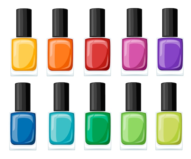 Nail polish assortment of beautiful bright colors. collection for manicure.   illustration  on white background.