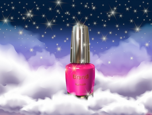 Nail polish bottle in the clouds