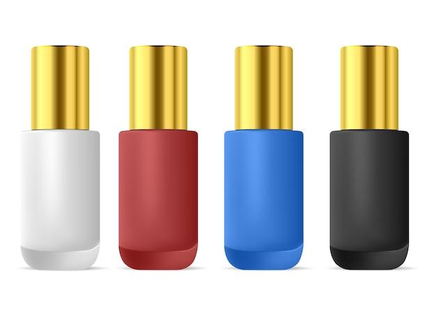 マニキュアボトル。マニキュアニスエナメルセット。カラーペイントコンテナ。ネイルラッカーのリアルなパッケージデザイン。指の爪の瓶、光沢のあるシリンダーパック、ペディキュア製品、赤、ピンク、黒