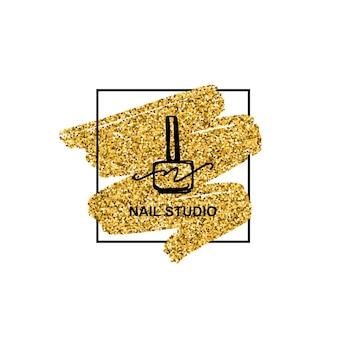 최신 유행의 미니멀리스트 선형 스타일에 황금빛 반짝이 질감이 있는 매니큐어 로고. 미용실이나 매니큐어사의 로고. 매니큐어, 네일, 비누, 미용실 포장용 템플릿.