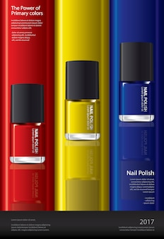 Nail polish poster design template illustration