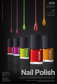 Nail polish poster design template illustration