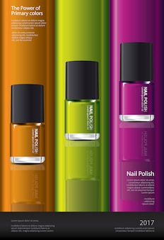 Nail polish poster design template vector illustration