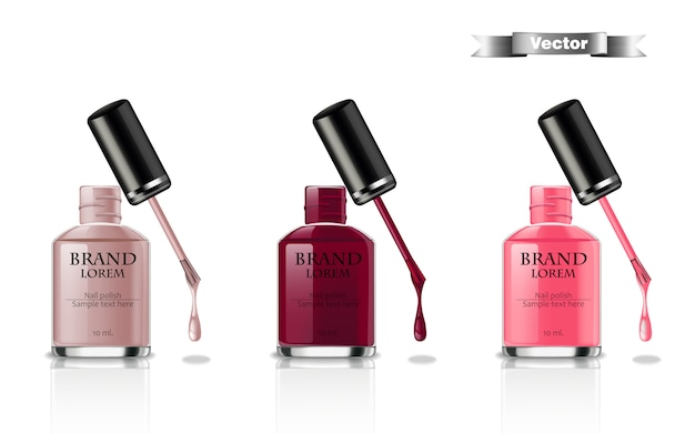 Nail polish realistic packaging set