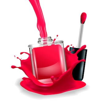 Nail polish in splash. vector illustration.