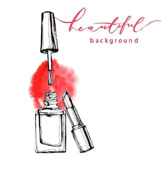 白い背景の上のファッションスタイルのネイルポリシャンド口紅ベクトルスケッチ。化粧品とファッションの背景テンプレートベクトル。