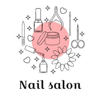 Nail salon background infographics