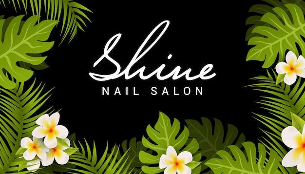 네일 살롱 명함 디자인입니다. 열대 잎과 꽃이 있는 매니큐어 미용실 배너.