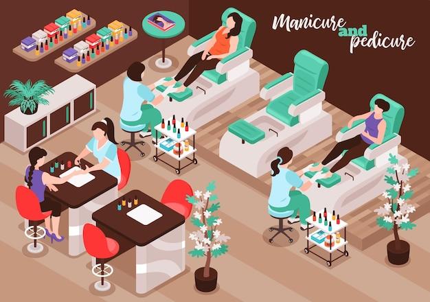 Salone per unghie isometrico con personaggi femminili di clienti e personale che eseguono la procedura di illustrazione di manicure e pedicure