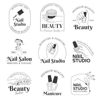 네일 살롱 로고. 매니큐어 및 핸드 케어 화장품 라인 로고. 아름다운 여성의 손, 폴란드어 브러시와 꽃. 패션 부티크 벡터 집합입니다. 여성을 위한 프리미엄 품질의 전문 페디큐어