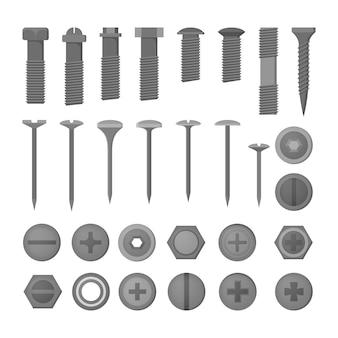 ネイルセット。家の修理のための金属工具のコレクション。鋼の大工設備。スタイルのイラスト