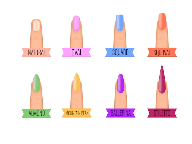 Значки формы ногтей. виды модных форм ногтей. ногти модные иллюстрации.