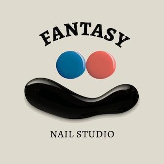 Nail studio business logo vector creative color paint style