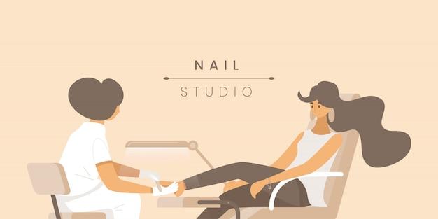 Nail studio flat banner  template.