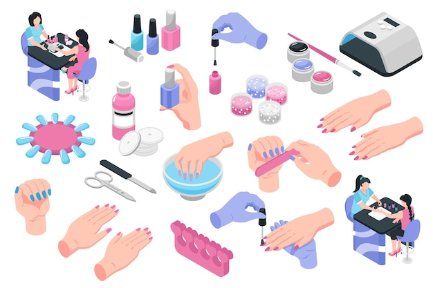 Nail studio isometric set of various tools for manicure bottles of nail polish and polish remover with cotton pads isolated
