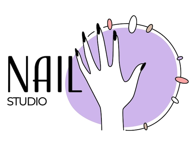 손톱 미용 엠블럼을 위한 네일 스튜디오 또는 살롱