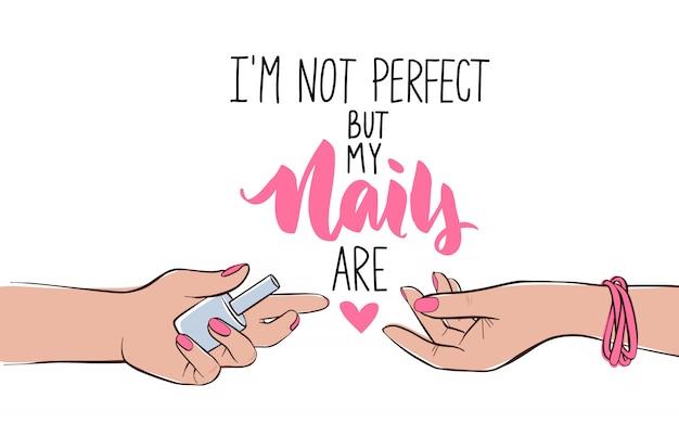 爪とマニキュアのバナーやポスターのイラスト。肌の色が異なる女性の手。ピンクのマニキュア