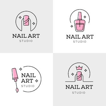 Коллекция логотипов студии дизайна ногтей