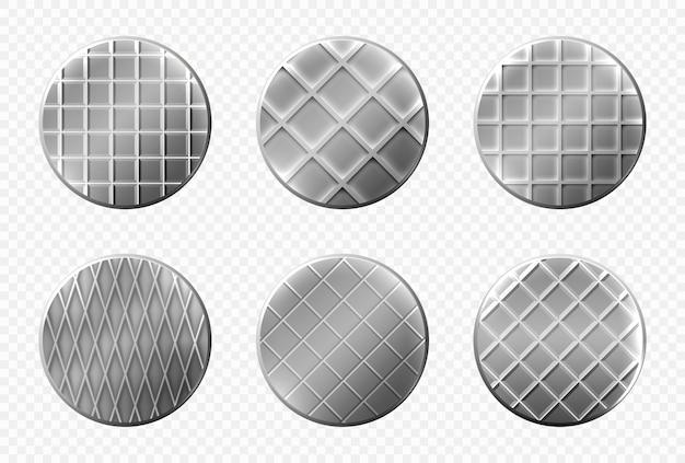 Vista dall'alto delle teste dei chiodi, spille metalliche in acciaio con ornamento a scacchi, cappucci grigi con scanalature