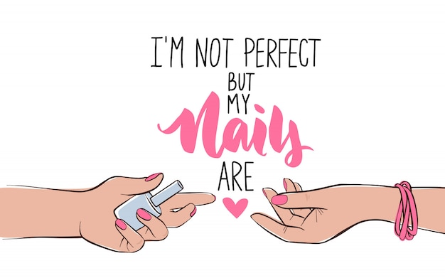 Nails and manicure banner or poster illustration. female hands with different skin colors. pink nail polish