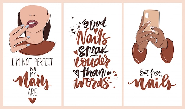 Nails and manicure set with woman hands, handwritten lettering phrases. wallpaper for social media or networks stories backgrounds.