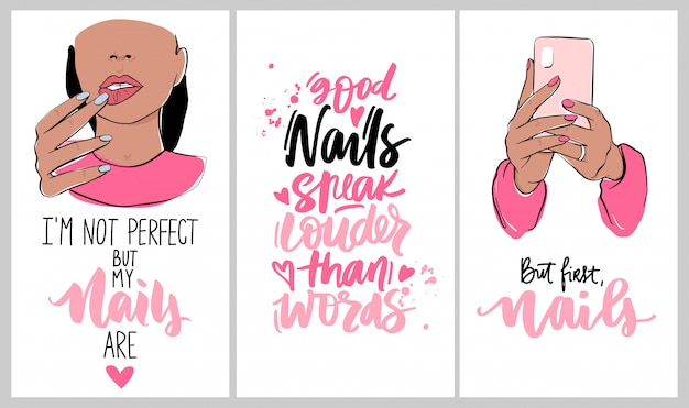 Nails and manicure set with woman hands, handwritten lettering phrases. wallpaper for social media or networks stories backgrounds