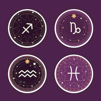 Naive astrological sign sticker collection