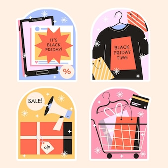 Naive black friday stickers design collection