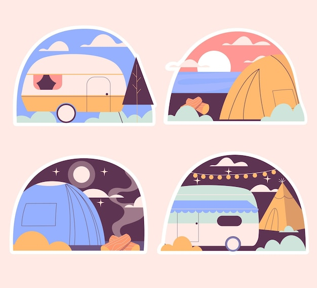 Naive camping sticker collection