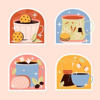 素朴なコーヒーと紅茶のステッカーコレクション 無料ベクター