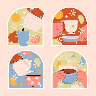 Naive coffee and tea stickers collection