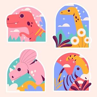 Naive dinosaurs stickers Premium Vector