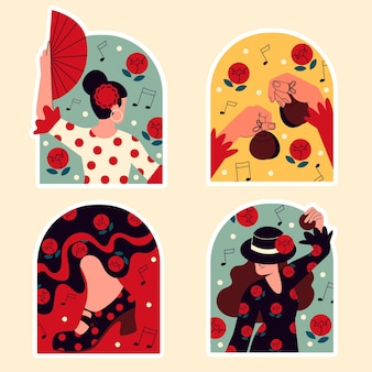 Adesivi ingenui ballerini di flamenco