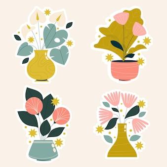 素朴な花や植物のステッカー